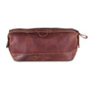 Unisex Brown Full Grain Toiletry Bag