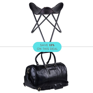 Camping Combo- Black Duffle Bag with Butterfly Flap Foot Stool