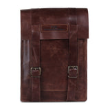 Front View of Leather Laptop Satchel Messenger Bag