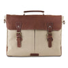 Front View of Unisex Cream Canvas Leather Messenger Briefcase Bag