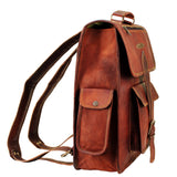 Side View of Leather Messenger Backpack with Top Handle