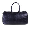 Genuine Vintage Leather Dark Blue Duffle Bag with Adjustable Shoulder Strap