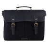 Front View of 15.6 inch Black Canvas Leather Messenger Bag