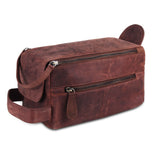 Genuine Brown Leather Zippered Toiletry bag