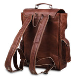 Back 3D view of Genuine Leather Backpack with Top Handle