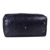 Dark Blue Leather Weekender Duffle Bag with Metallic Studs
