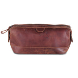 Brown Leather Toiletry Bag with High Quality Zippers