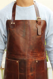 Genuine Brown Leather Work Apron with Adjustable Strap