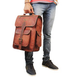 Top Handle Leather Messenger Bag with Model