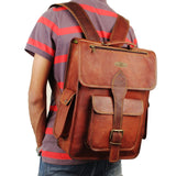 Leather Messenger Backpack Bag for College, Travel