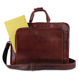 Open View Of Genuine Brown Leather Messenger Bag with Zippers