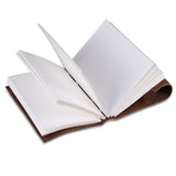 Open View of Light Brown Leather Notebook Journal