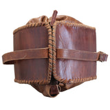 Top View of Leather Messenger Bag with Adjustable Strap