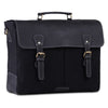 3 D View of Unisex Black Canvas Leather Messenger Briefcase Bag