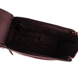 Top Open View of Leather Toiletry Bag