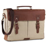 Genuine Canvas Leather Cream Messenger Laptop15.6 inch Bag