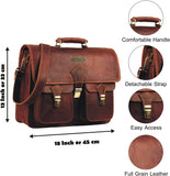 Features Of Genuine Leather Top Handle Messenger Briefcase Laptop Bag with Adjustable Strap and Push Lock