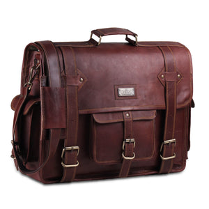 Genuine Full Grain Leather Messenger Bag with Top Handle