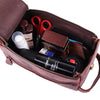Open View of Brown Leather Toiletry Unisex Bag