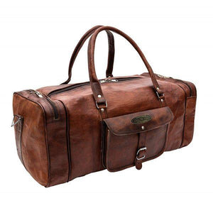 Genuine Full Grain Leather Weekender Sports Gym Duffle Bag