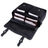 Open View Of Black Canvas Leather Messenger Laptop Bag with Adjustable Strap