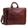Posterior View of Genuine Brown Leather Laptop Messenger Briefcase Bag with Top Handle