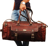 Rustic Brown Large Leather Duffle Bag