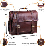 Features of Genuine Leather Top Handle Messenger Laptop Bag