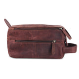 Front View of Leather Multi Utility Toiletry Bag
