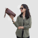 Model with Brown Leather Toiletry Bag