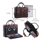Leather Briefcase Laptop Book Bag with Top Handle