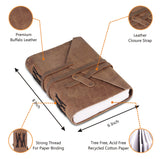 Light Brown Leather Notebook Journal with Strap Enclosure