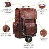 Features of Genuine Full Grain Leather Backpack with Top Handle