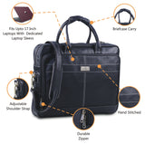 Features of Leather Messenger Leather Laptop Messenger Briefcase Bag with Top Handle