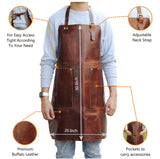 Features of Genuine Full Grain Brown Leather Work Apron