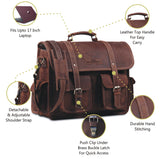 Features of Brown Leather Laptop Messenger Bag with Top Handle and Adjustable Strap