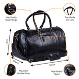 Feature of Large Textured Leather Duffle Weekender Bag