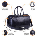 Features of Genuine Full Grain Dark Blue Leather Duffle Bag with Top Handle