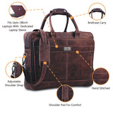 Genuine Leather Laptop Padded Briefcase Messenger Bag with Top Handle