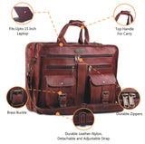 Features of Zippered Leather Messenger Briefcase Bag with Top Handle and Adjustable Shoulder Strap