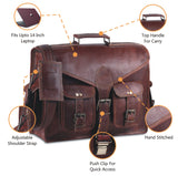 Features of Genuine Leather Top Handle Briefcase Messenger Bag with Push Lock