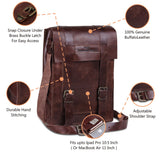 Features of Vintage Brown Leather Tablet Satchel Bag