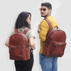 Models with Large Water Resistant Brown Leather Backpacks