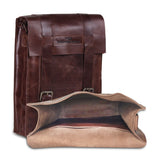 Open View of Leather Messenger Satchel Laptop Tablet Bag
