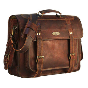 Genuine Leather Laptop Messenger Bag with Top Handle and Adjustable Strap