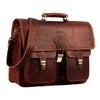 Genuine Leather Top Handle Messenger Bag with Adjustable Strap and Push lock
