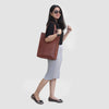 Model with Leather Top handle Tote Bag for Women