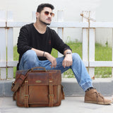 Model With Genuine Leather Laptop Messenger Bag