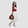 Model with Brown Bucket Bag with Adjustable Strap