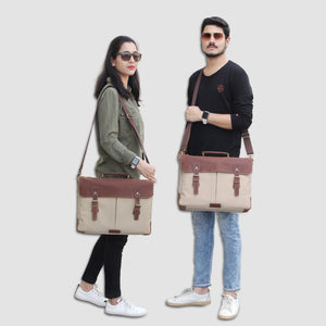 Genuine Leather Canvas Cream Messenger Bag with Adjustable Strap